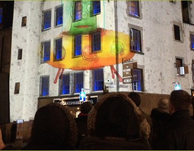 Funktioncreep Christmas Projection Mapping with MCLCreate in Edinburgh's Grassmarket