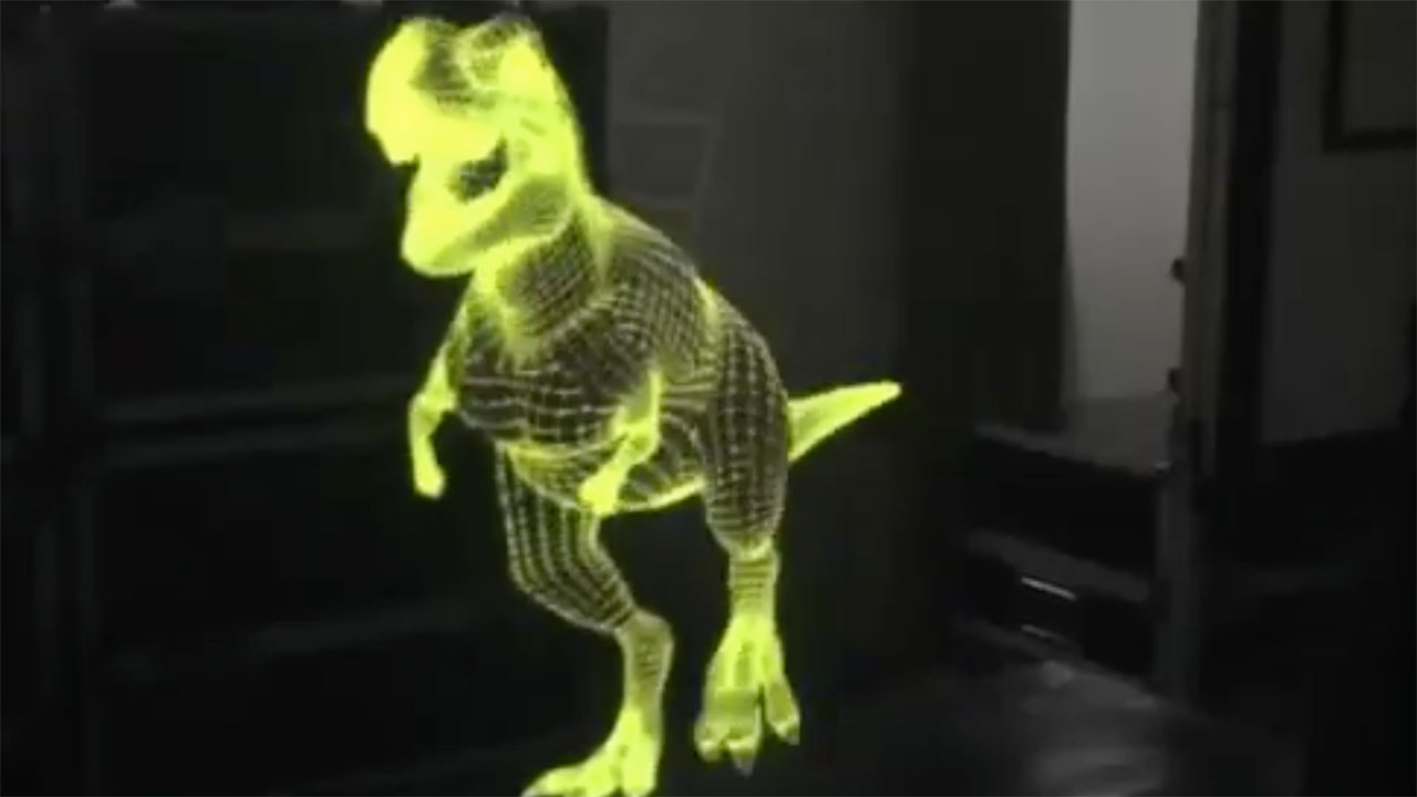 Wireframe Dinosaur - 3D Holographic Test